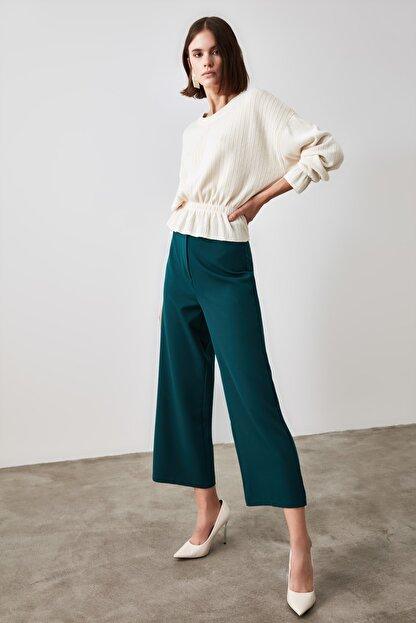 TRENDYOLMİLLA Zümrüt Yeşili Bol Paça Pantolon TWOSS20PL0090