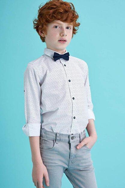 Defacto Erkek Çocuk Papyonlu Baskılı Pamuklu Uzun Kollu Gömlek