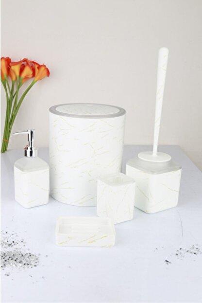 MasterPiece Akrilik 5 Parça Banyo Seti Beyaz Mermer Desenli