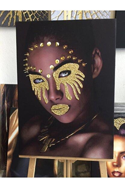 Simli Kanvas Sml013-gold Sim Işlemeli Afrikalı Kadın Kanvas Tablo 90x60cm