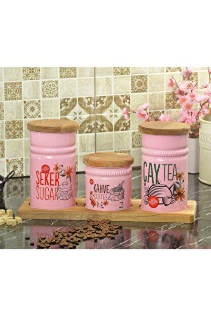 Palmiye Home Dikdörtgen Ahşap Standlı 3'lü Çay, Şeker ve Kahve Seti Dikdörtgen Ahşaplı 3'lü
