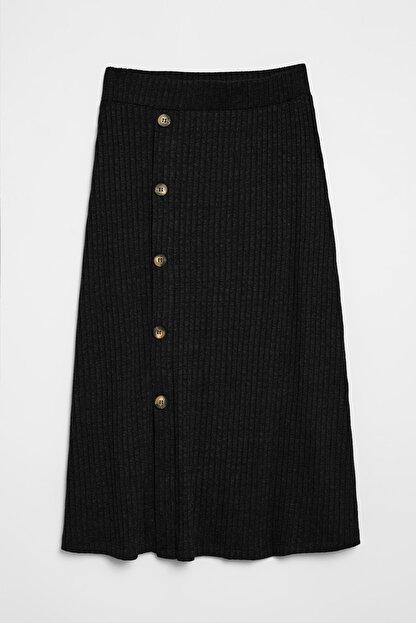 GRIMELANGE OLIVA Kadın Triko Görünümlü Önü  Düğmeli  Siyah Etek