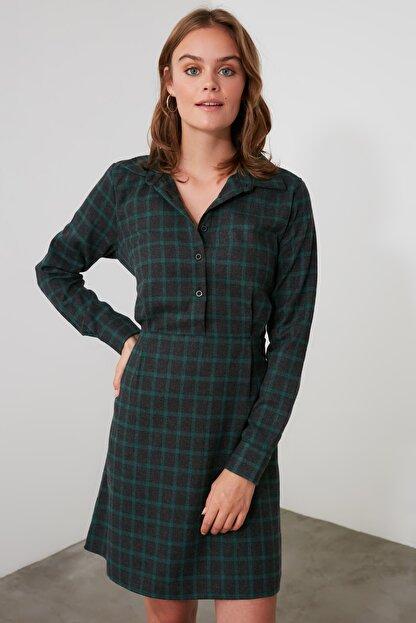 TRENDYOLMİLLA Haki Kuşaklı Gömlek Yaka Elbise TWOAW21EL1754