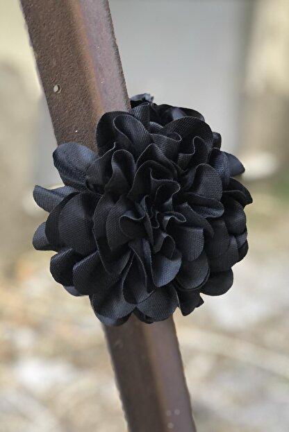 İnci Accessories Çiçek Model Saten Kumaş Büyük Mandal Toka Siyah