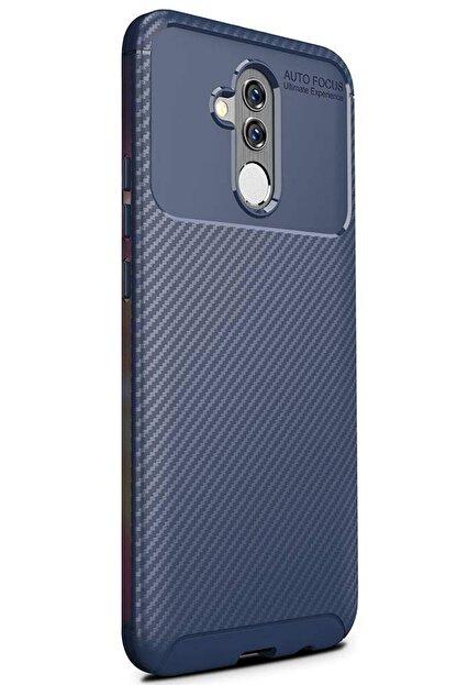 Cekuonline Huawei Mate 20 Lite Lacivert Karbon Stil Kılıf Ve Mermer Desen Popsocket