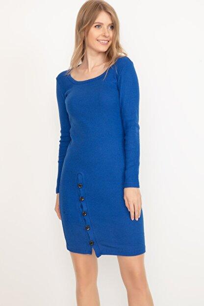D-Paris Kadın Saks Mavisi Kare Yaka Düğmeli Elbise