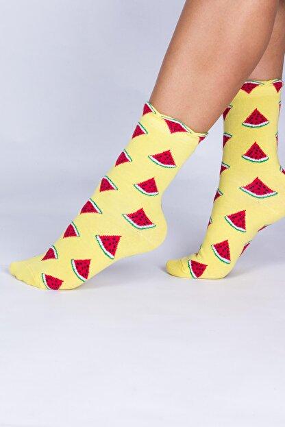 Mupo Kadın Sarı Karpuz Meyve Desenli Soket Çorap