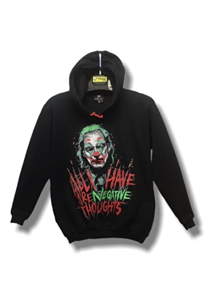 Freak Unisex Siyah Joker Yeni Hoodie Sweatshirt