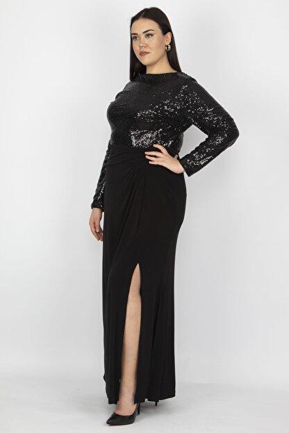 Şans Kadın Siyah Üst Kısmı Payet Yırtmaçlı Elbise 65N18754