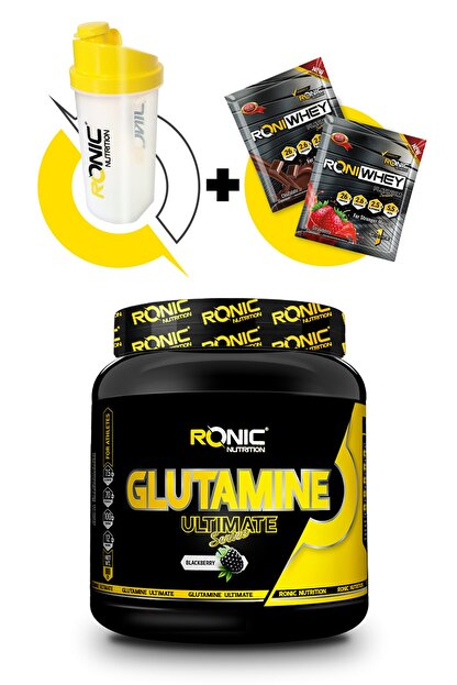 Ronic Nutrition Glutamine Ultimate 900 Gr (böğürtlen Aromalı) + Shaker Ve 2 Adet Tek Kullanımlık Whey Protein Hediye