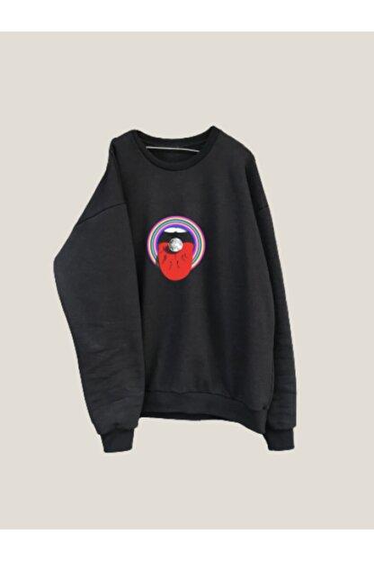 Morka Vintage Unisex Siyah Mouth Oversize Sweatshirt