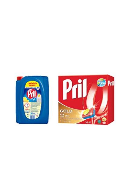 Pril Gold Tablet Deterjan 36'lı ve Sıvı Limon Deterjan 5 lt