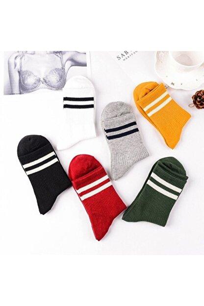 çorapmanya 8' Li Erkek Kolej Çok Renkli Çizgili Tenis Çorabı
