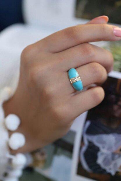 OZEY Kadın Gold Renk Ayarlanabilir Mavi Mineli Yüzük