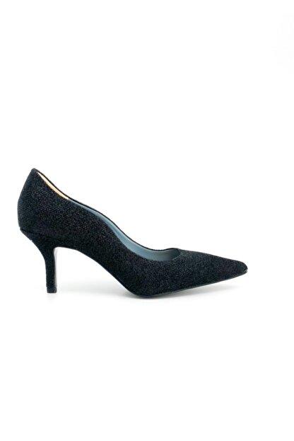 KATE MOONS Kadın Siyah Tekstil Simli Stiletto