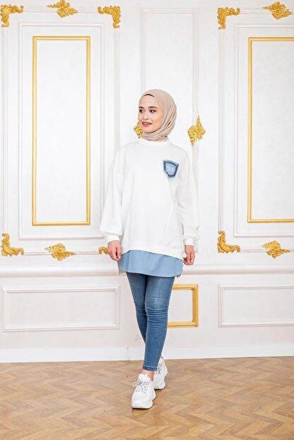 Şule Giyim Kadın Beyaz Kot Cepli Altı Kot Detaylı Sweat