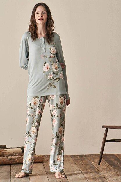 Lohusa Sepeti Kadın Yeşil Igone Lohusa Pijama Takımı 3944