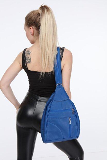 Vira Deri Kürk Kadın Mavi Sırt/omuz Hakiki Deri Çanta