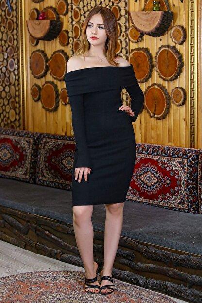 caspianstore Kadın Siyah Degaje Yaka Elbise