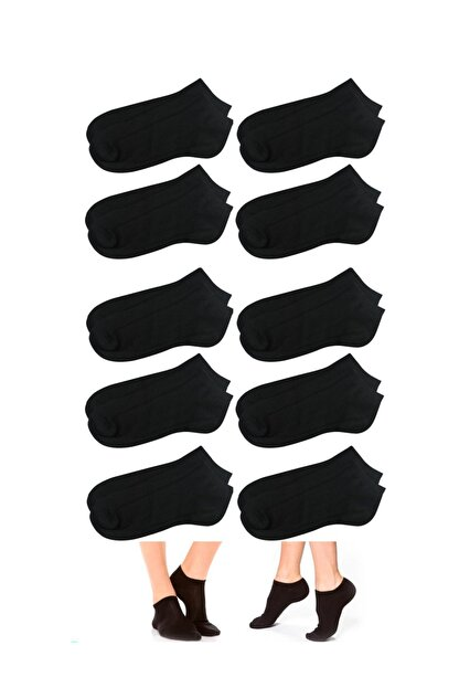 socksbox 10lu Siyah Pamuklu Bilek Boy Çorap