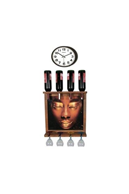 Bahat Saatli Tablolu Ahşap Şaraplık Viski Bira Salon Bar Mutfak Dekoru
