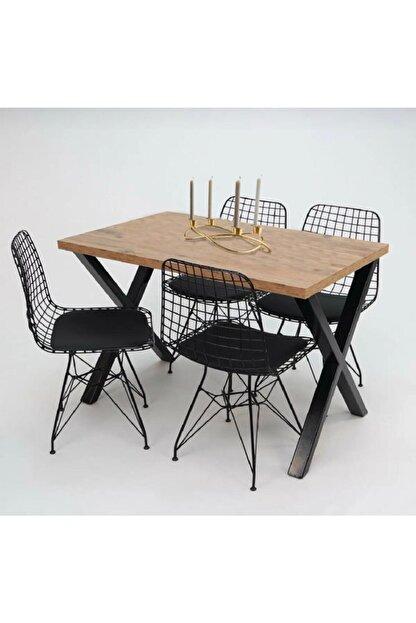 Cosargroup Masa Sandalye Takımı X Ayak Woody Çam 120x80 Cm Yemek Masa Takımı