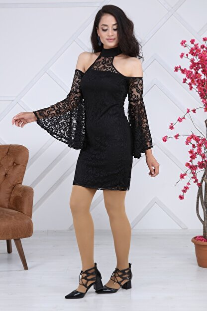 Matik Abiyem Kadın Siyah Dantel Üstü Flok Baskılı Abiye Elbise