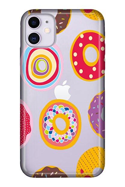 """Cekuonline Iphone 12 Mini 5.4"""" Tıpalı Kamera Korumalı Silikon Kılıf - Donut Love"""
