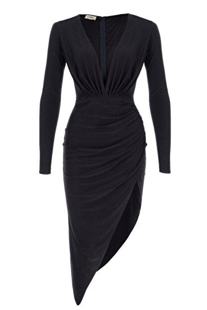 Lora İstanbul Kadın Siyah Midi Elbise