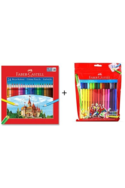 Faber Castell 24 Lü Kuru Boya + Fiesta 30 Renk Keçeli Kalem