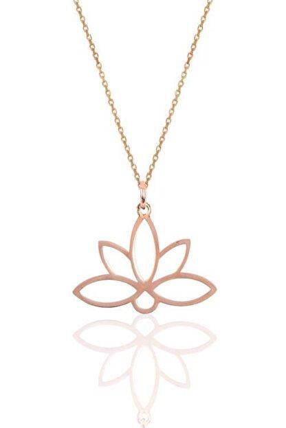 Papatya Silver 925 Ayar Rose Altın Kaplama Gümüş Lotus Çiçeği Kolye