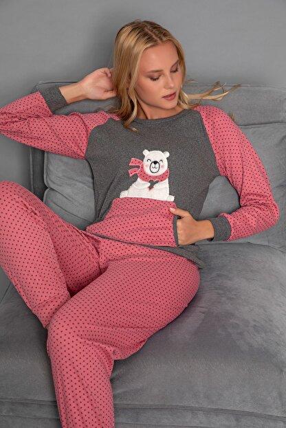 Strawberry Kadın Gül Kurusu Pamuklu Interlok Pijama Takimi