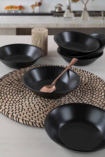 Keramika Mat Siyah Hitit  Yemek Tabağı 18 cm 6 Adet