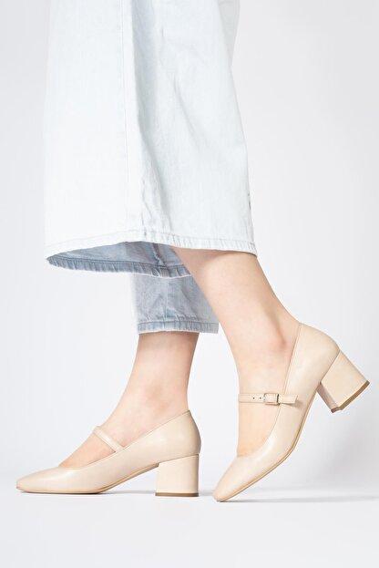 CZ London Hakiki Deri Kadın Alçak Topuklu Küt Burun Ayakkabı