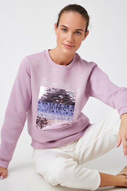 Koton Kadın Lila Sweatshirt 1KAK13681EK
