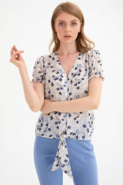 Chima Kadın Bej Önü Bağlamalı Gömlek