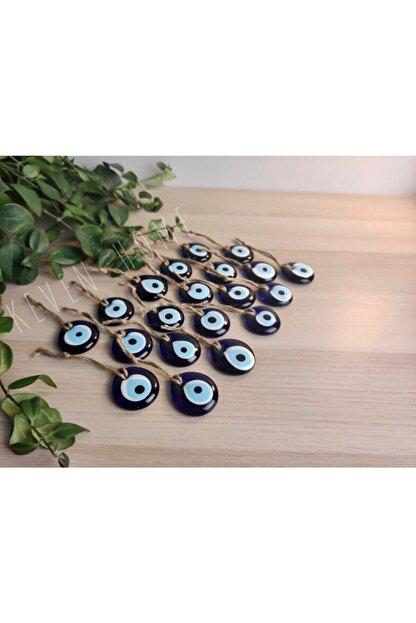 Keven Home 20 Adet - Cam Nazar Boncuğu - 4cm Delikli Dekoratif Nazar Boncuğu - Hazır Süslemelik Nazar Boncuğu