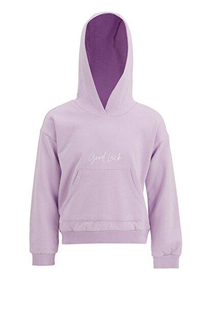 Defacto Kız Çocuk Mor Yazı Baskılı Sweatshirt