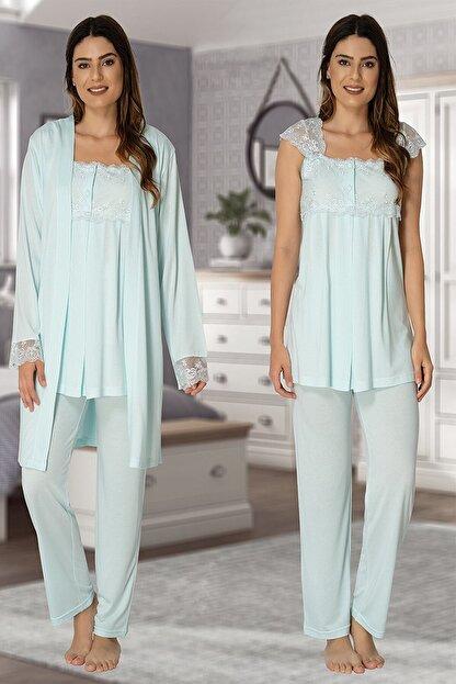 Effort Pijama Effort Su Yeşili Hamile Lohusa Sabahlıklı Pijama Takımı 2301