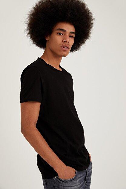 Defacto Slim Fit Bisiklet Yaka Basic Siyah Tişört