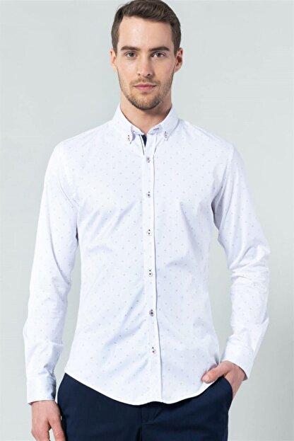 Tudors Dar Kesim Likralı Erkek Gömlek