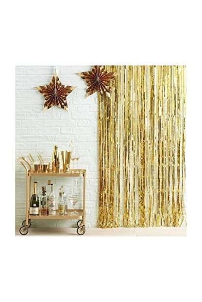 Deniz Party Store Metalize Fon Perde Duvar Perdesi Gold Renk