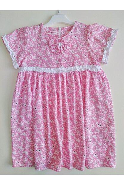 KobalBusiness Kız Çocuk Pembe Çiçek Desenli Fırfırlı  Elbise