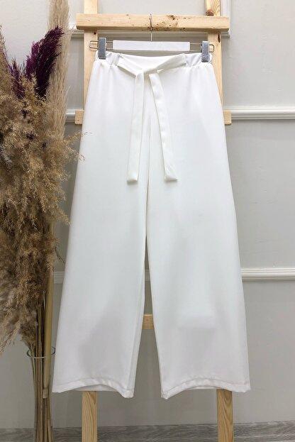 MODAQU Kadın Beyaz Kuşaklı Bol Paça Pantolon