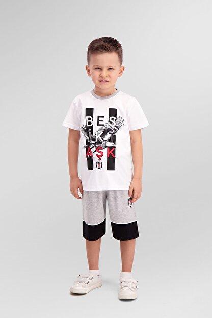 Beşiktaş Lisanslı Beyaz Erkek Çocuk Bermuda Takım