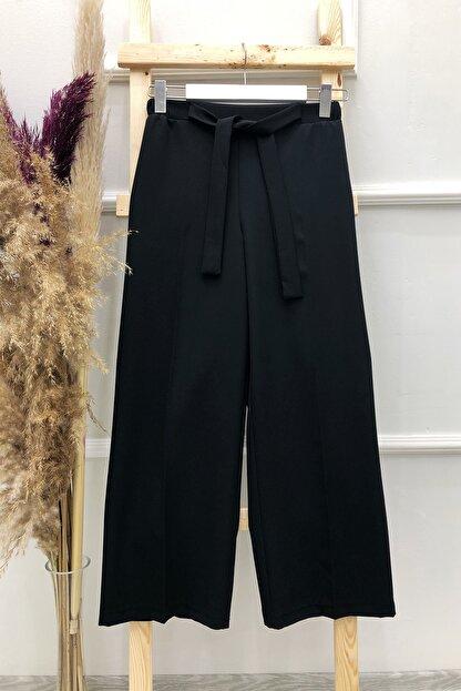 MODAQU Kuşaklı Bol Paça Pantolon - Siyah