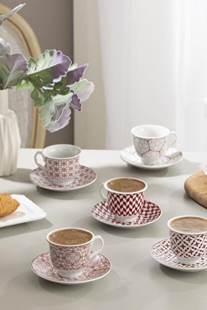 English Home Arista Porselen 6'lı Kahve Fincan Takımı 90 ml Bordo