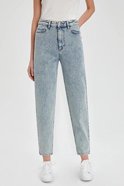 Defacto Kadın Mavi Slim Slouchy Fit Yıkamalı Jean Pantolon