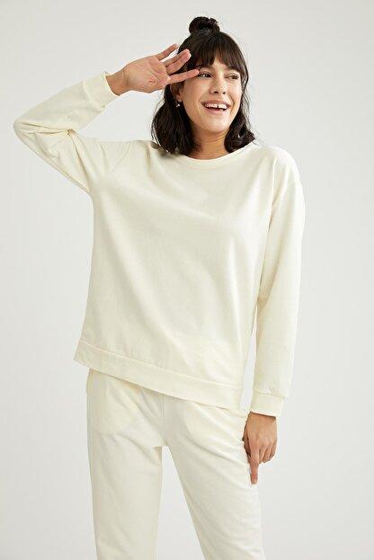 Defacto Kadın Ekru Relax Fit Sweatshirt
