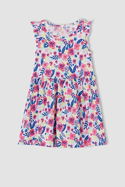 Defacto Kız Çocuk Çiçek Desenli Fırfır Detaylı Elbise